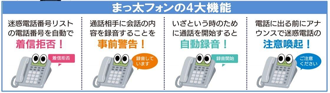 迷惑電話撃退機能付き電話機の特徴