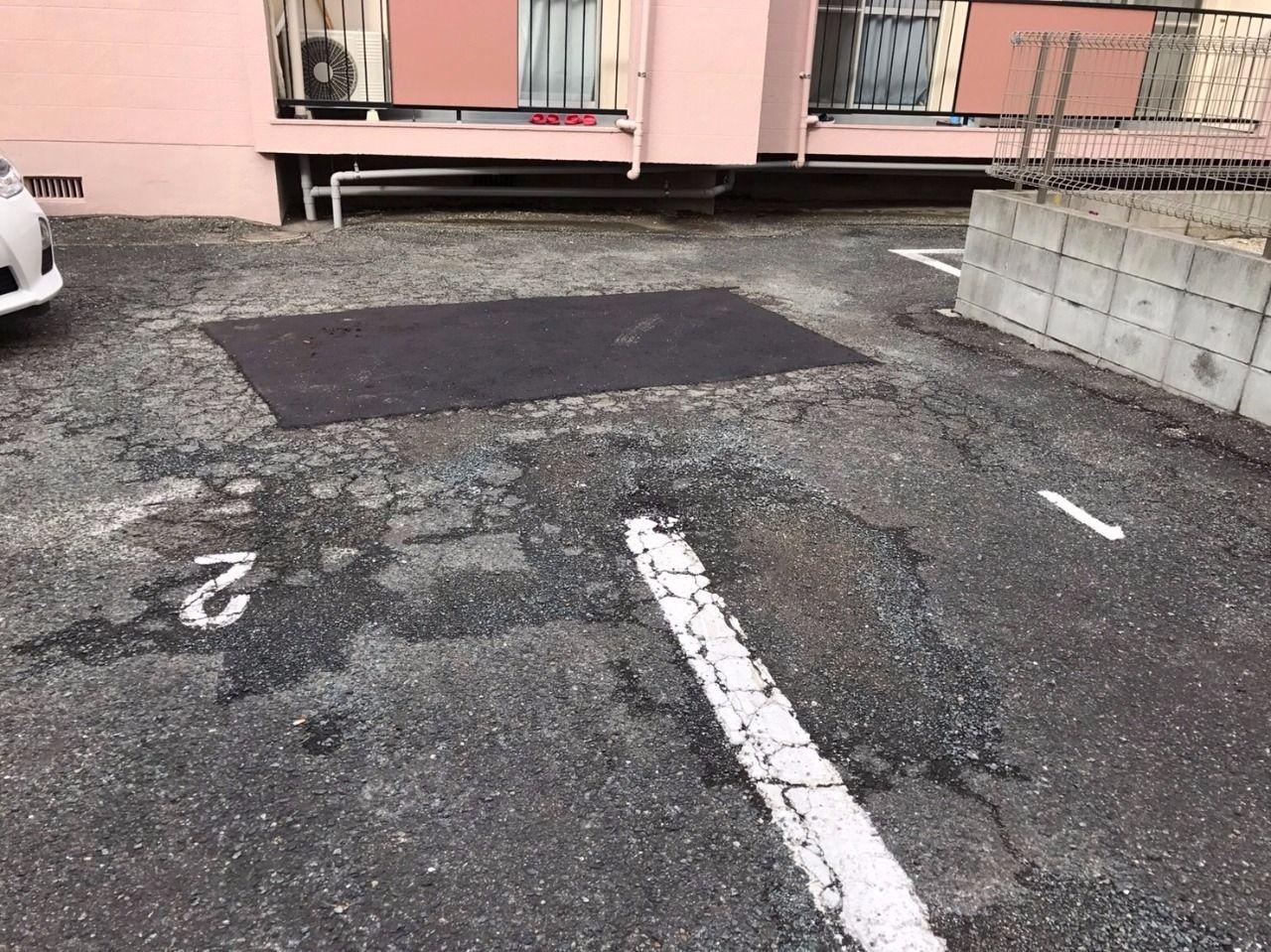 駐車場のアスファルト補修